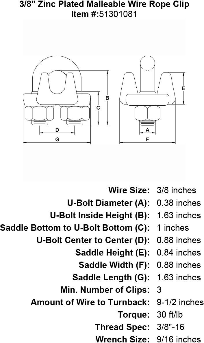 3  8 U0026quot  Zinc Plated Malleable Wire Rope Clip