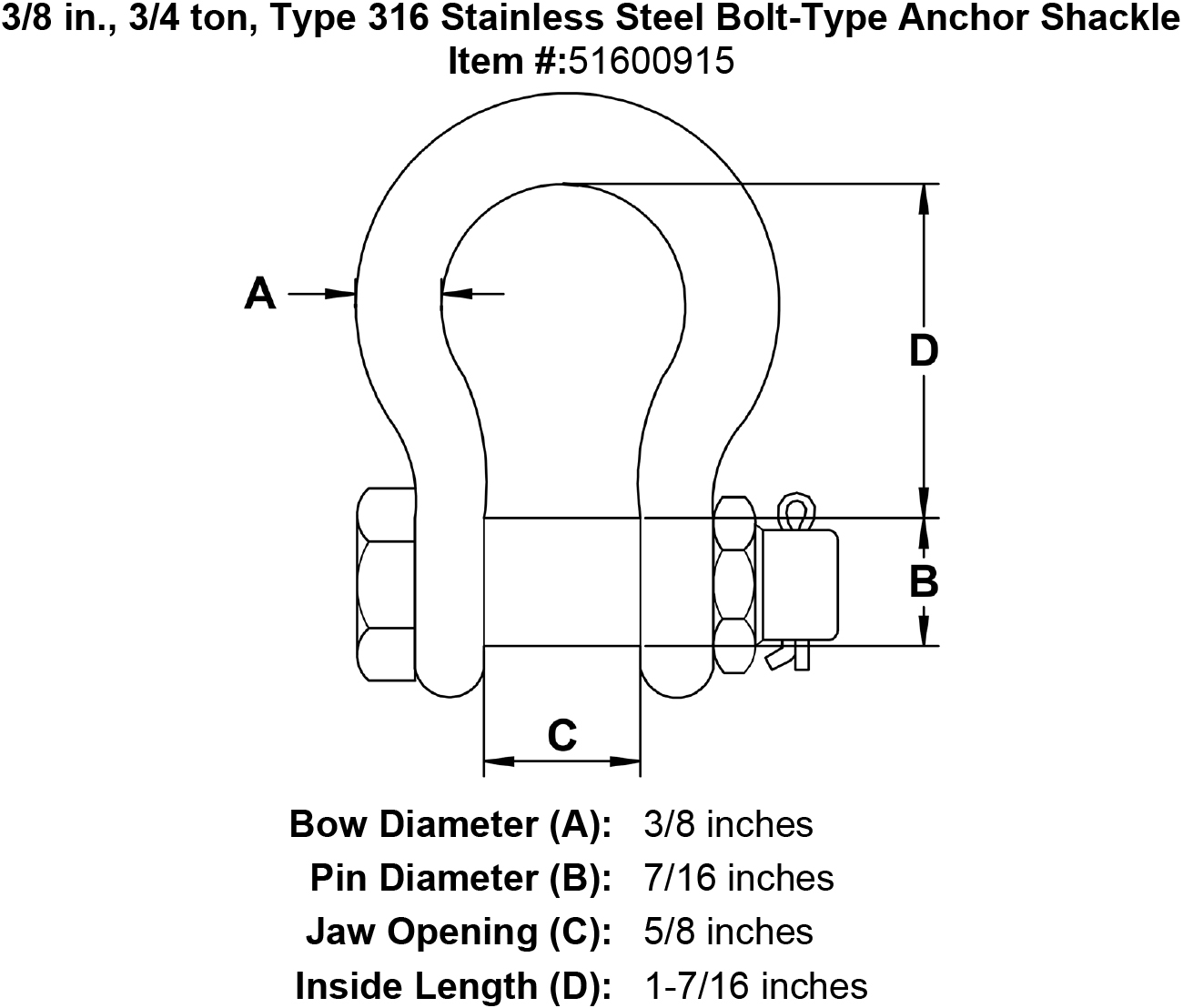 3  8 In   3  4 Ton  Type 316 Stainless Steel Bolt