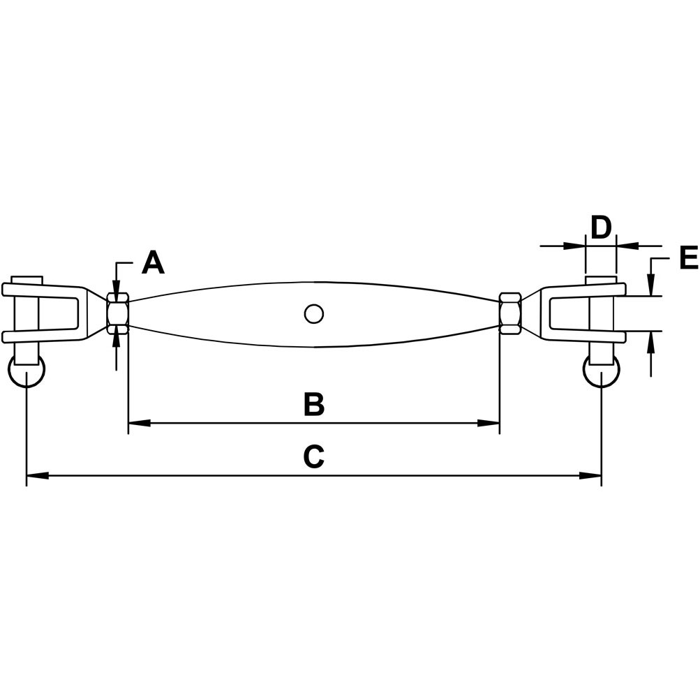 three-eighths-inch-x-four-and-one-half-inch-stainless-jaw-jaw-turnbuckle-specification-diagram
