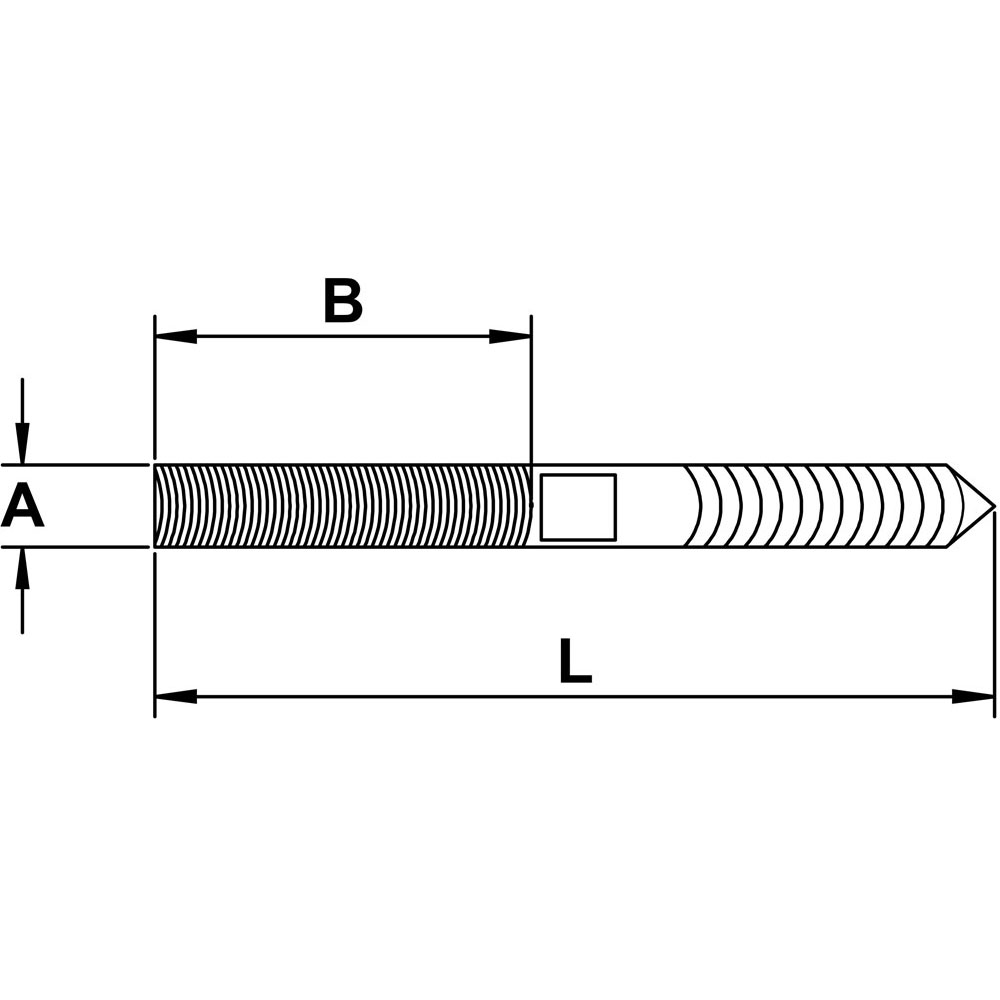 quarter-inch-x-three-and-three-quarters-inch-stainless-hanger-bolt-specification-diagram