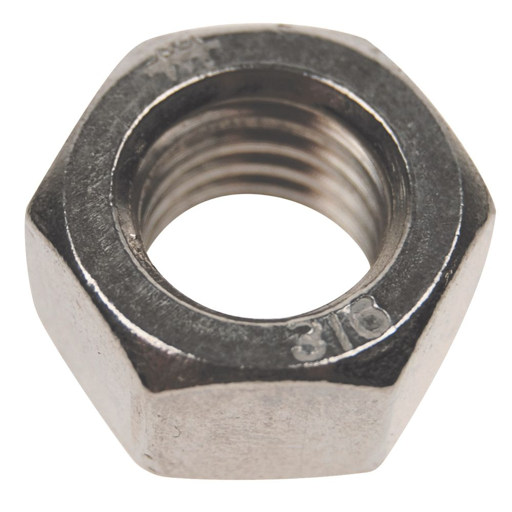 "3/16"" - 24 TPI,  Stainless Steel Hex Nut, Right Hand Threads Image 1"