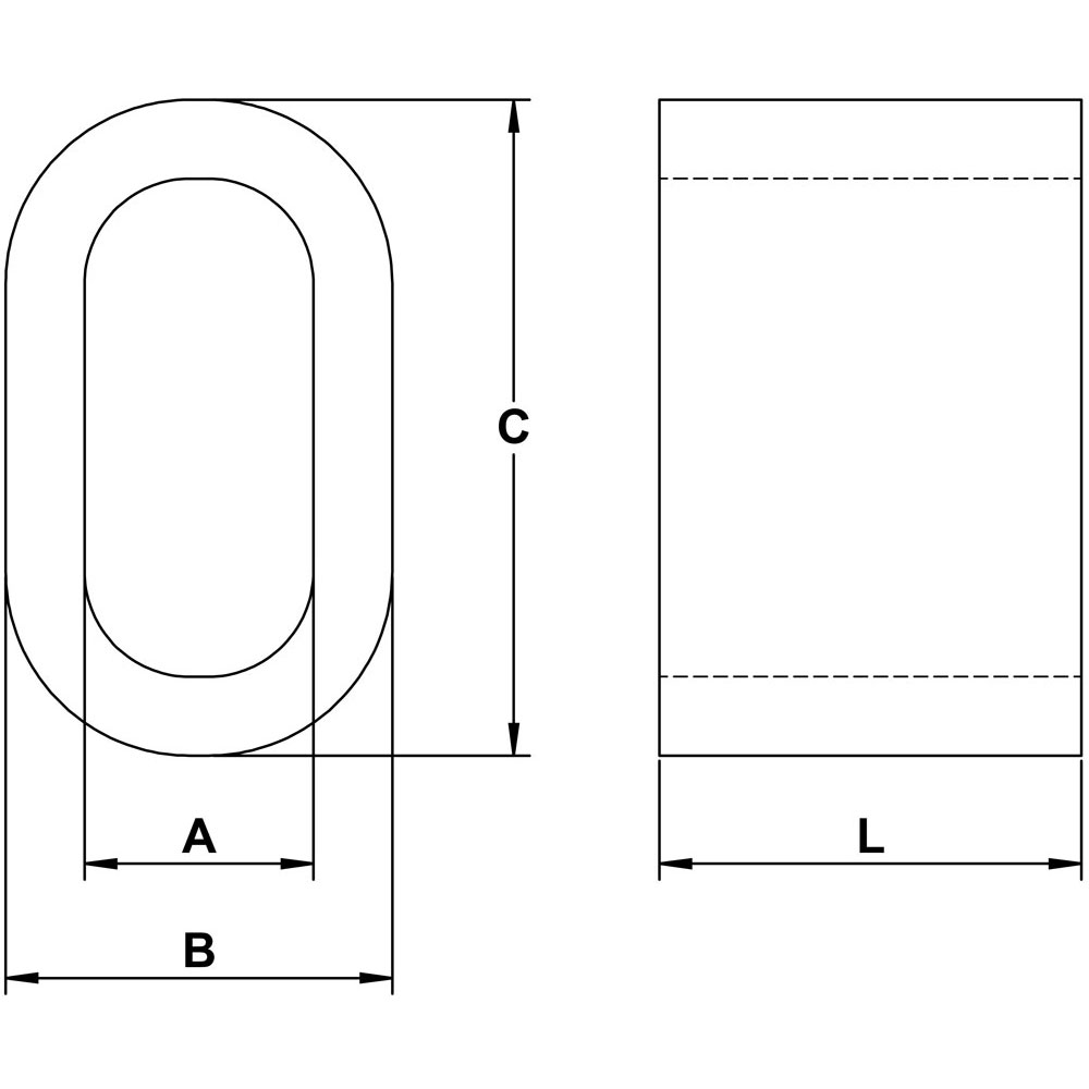 Stainless Steel Oval Sleeve, Grade 316 Diagram
