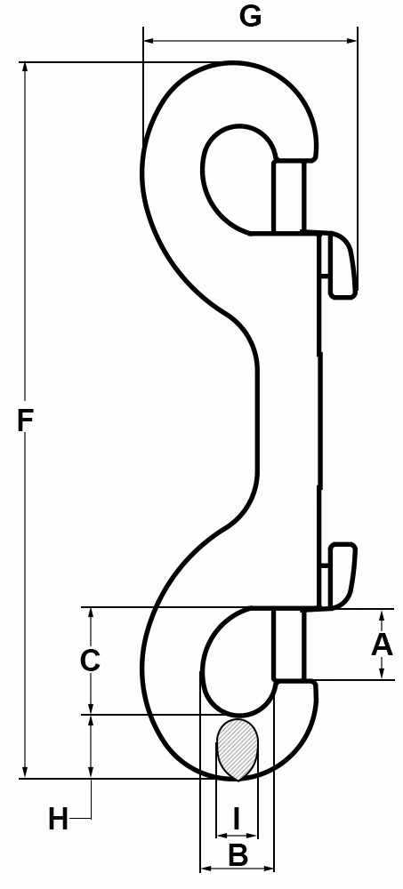 5-8-Eye-Double-End-Bolt-Snap-Nickel-Finish-specification-diagram