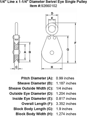 "1/4"" Line x 1-1/4"" Diameter Swivel Eye Single Pulley Image 4"