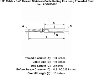 "1/8"" Cable x 1/4"" Thread, Stainless Cable Railing Xtra Long Threaded Stud Image 4"
