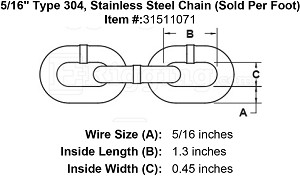"5/16"" Grade 304, Stainless Steel Chain (Sold Per Foot) Image 4"