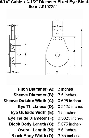 "5/16"" Cable x 3-1/2"" Diameter Fixed Eye Block Image 4"
