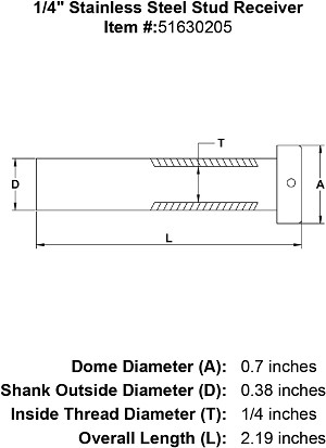 "1/4"" Stainless Steel Dome Receiver Stud Image 4"