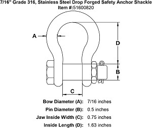 "7/16"" Grade 316, Stainless Steel Drop Forged Safety Anchor Shackle Image 4"