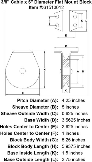 "3/8"" Cable x 5"" Diameter Flat Mount Block Image 4"