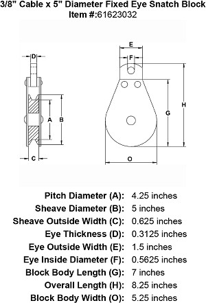 "3/8"" Cable x  5"" Diameter Fixed Eye Snatch Block Image 4"