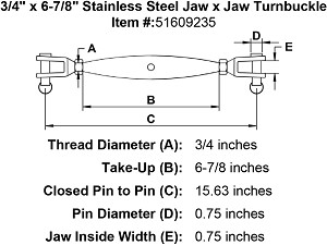 "3/4"" x 6-7/8"" Stainless Steel  Jaw x Jaw Turnbuckle Image 2"