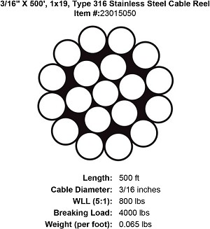 "3/16"" X 500', 1x19, Grade 316 Stainless Steel Cable Reel Image 3"