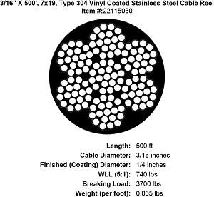 "3/16"" X 500', 7x19, Grade 304 Vinyl Coated Stainless Steel Cable Reel Image 5"