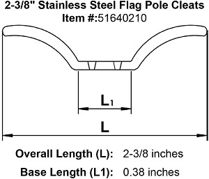 "2-3/8"" Stainless Steel Flag Pole Cleats Image 4"