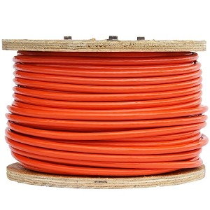 "1/4"" X 200', 7x19, Orange Vinyl Coated Galvanized Cable Reel"