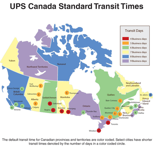 E-Rigging UPS Canada Transit Time Map
