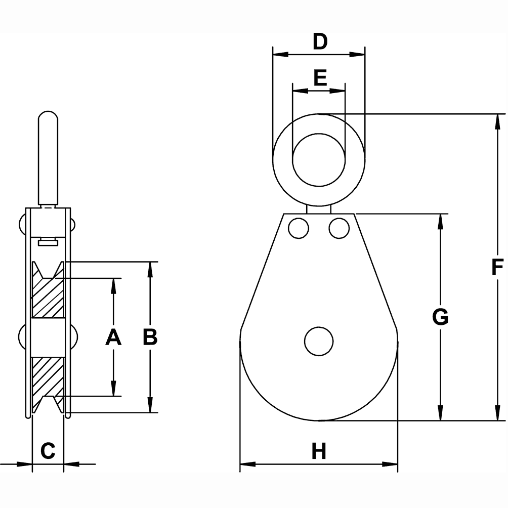 3-4-Sheave-Zinc-Plated-Swivel-Eye-Single-Pulley-specification-diagram