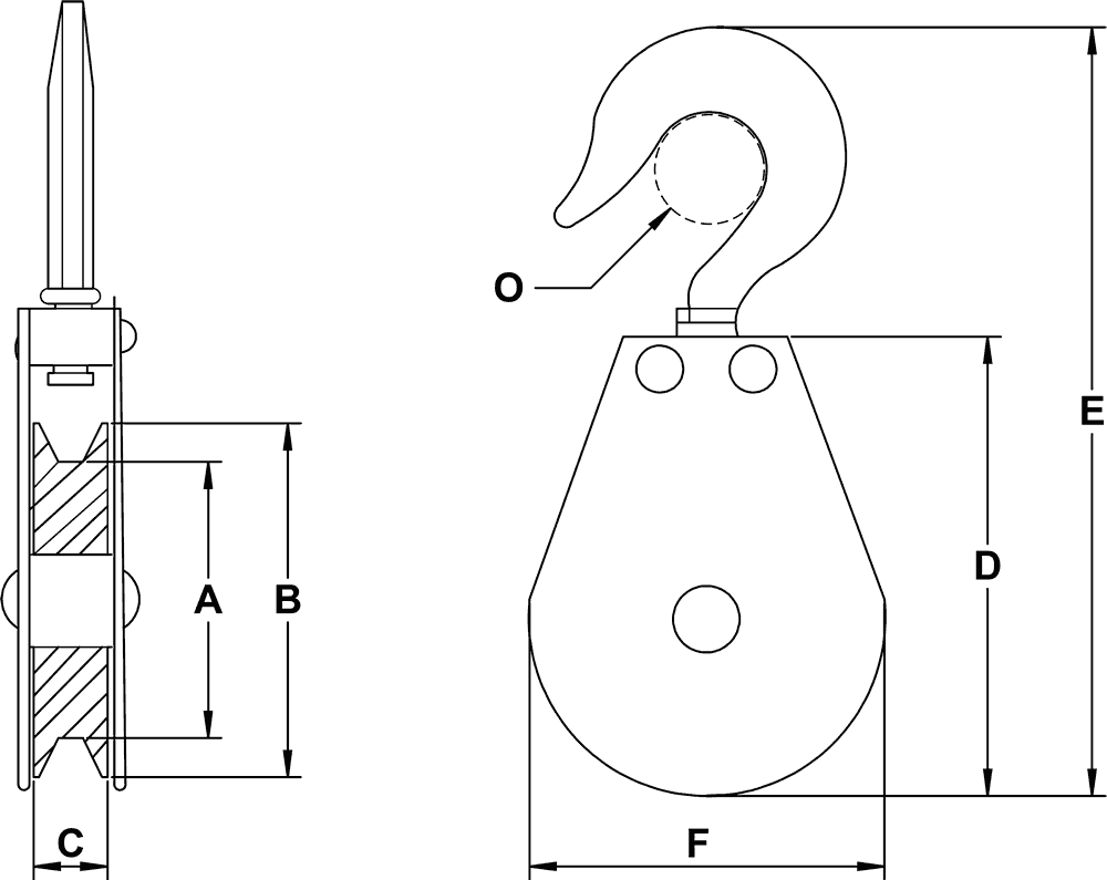 snatch type swivel hook blocks for cable rh e rigging com Tree Saver Snatch Block Crane Sheave Block Diagram