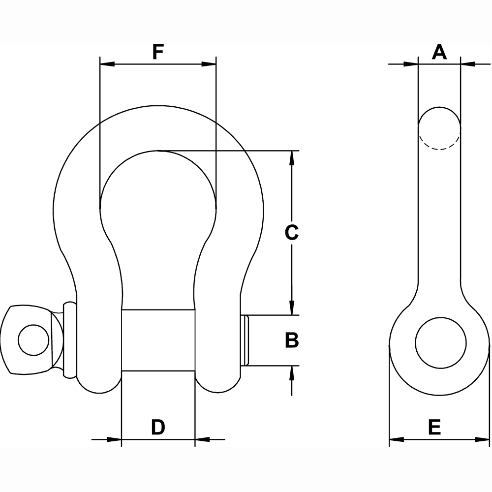 Black Painted Galvanized Screw Pin Anchor Shackle Diagram