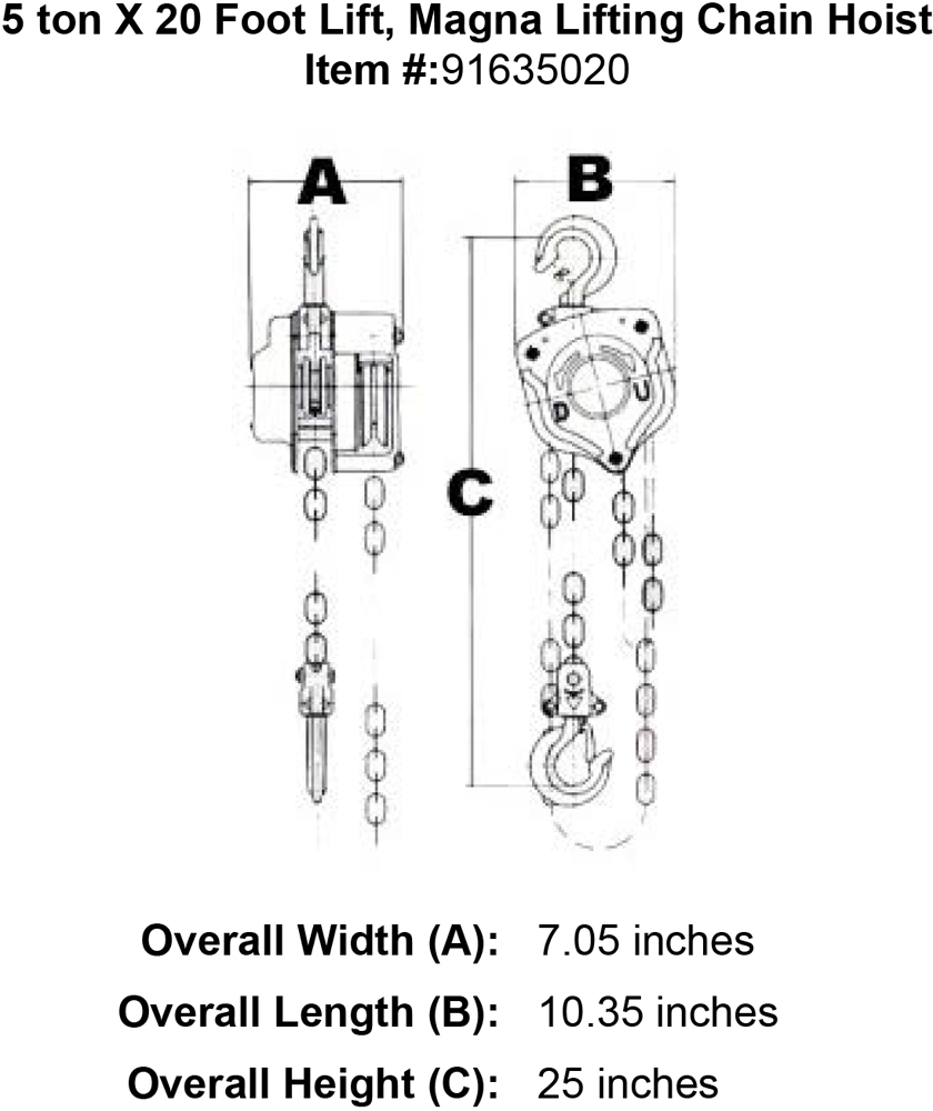 3 4 ton chain hoist diagram