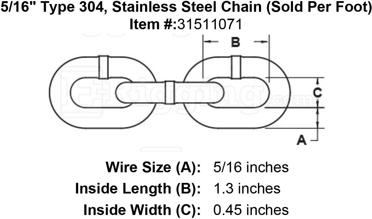 516 type 304 stainless steel chain sold per foot 516 type 304 stainless steel chain sold per foot image keyboard keysfo Gallery
