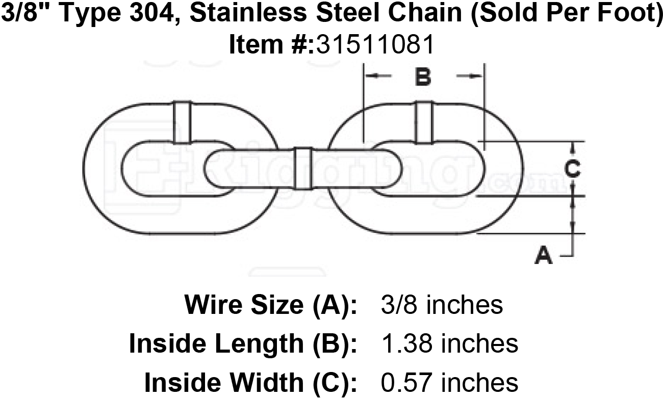 3  8 u0026quot  type 304  stainless steel chain  sold per foot