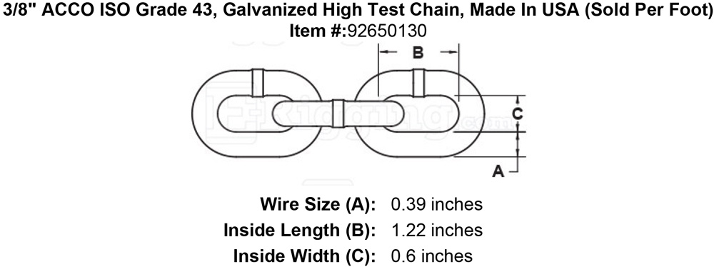 3 8 Quot Acco Iso Grade 43 Galvanized High Test Chain Made