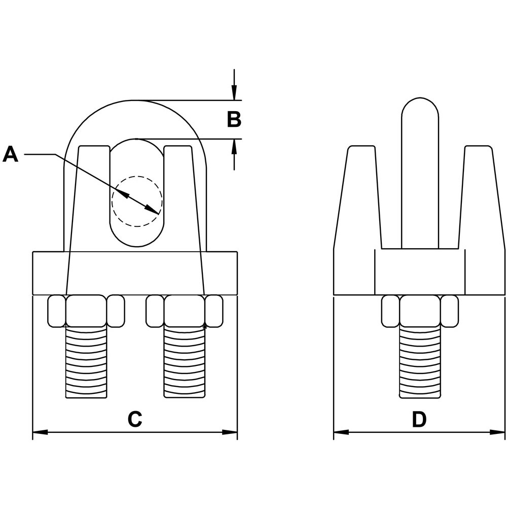 three-eighths-inch-Stainless-Wire-Rope-Clip-specification-diagram