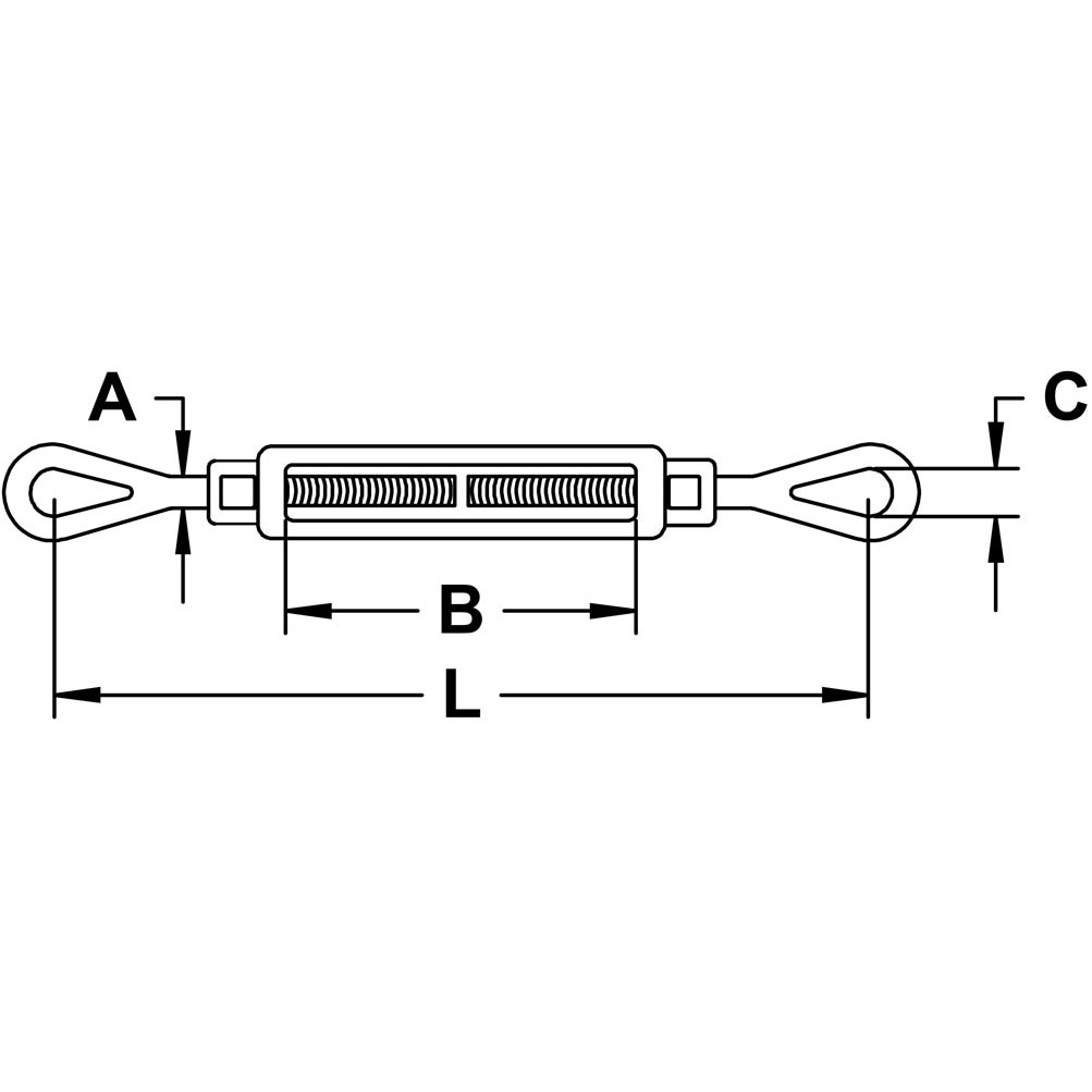 Drop Forged, Type 316 Stainless Steel Eye x Eye Turnbuckle Diagram