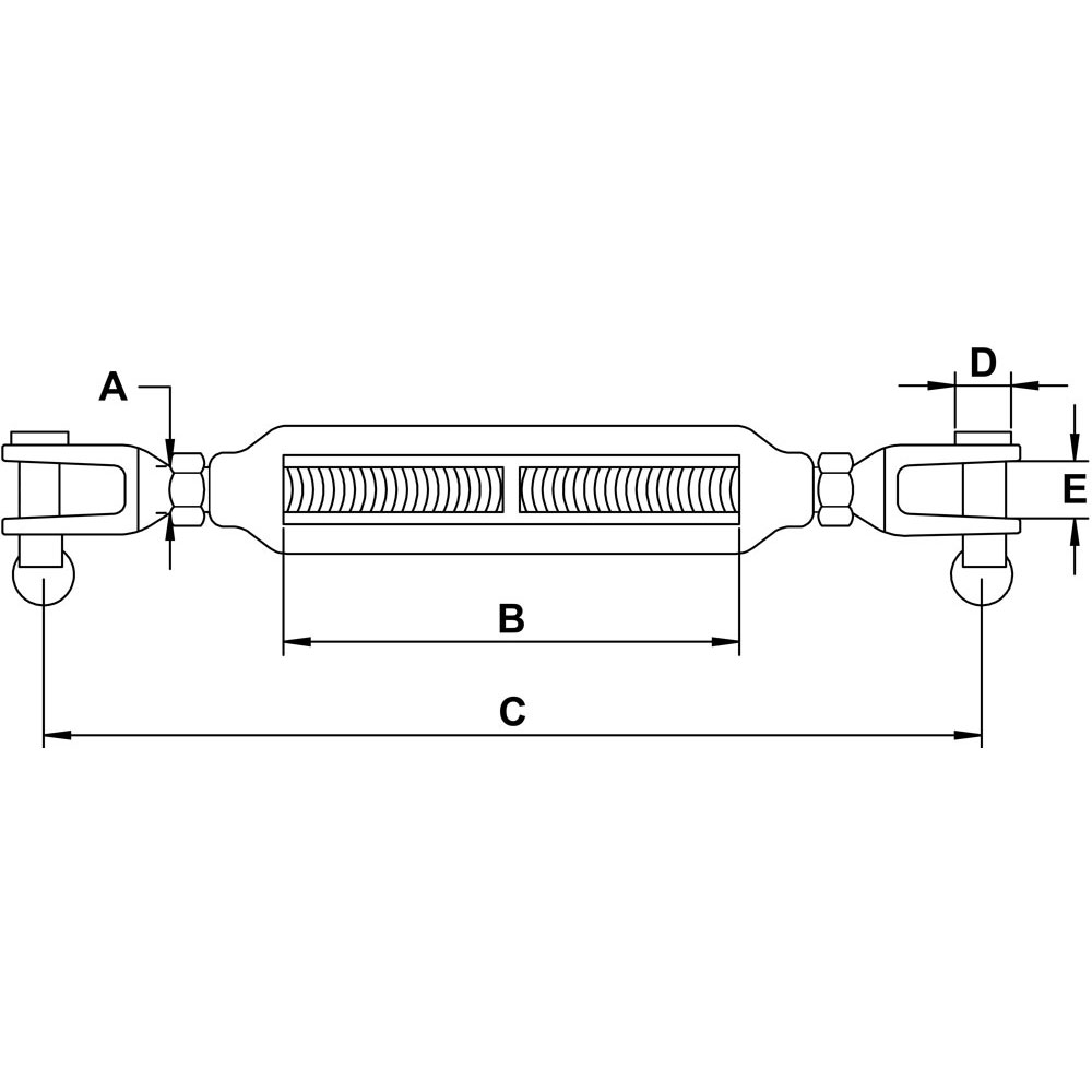 three-sixteenths-inch-x-two-and-three-quarters-inch-stainless-jaw-jaw-turnbuckle-specification-diagram
