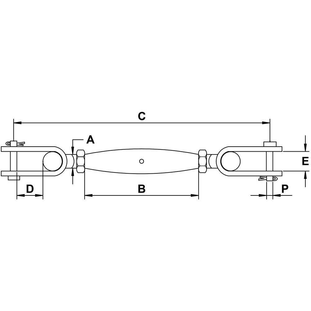 three-eighths-inch-x-four-and-one-quarter-inch-stainless-pipe-jaw-jaw-turnbuckle-specification-diagram
