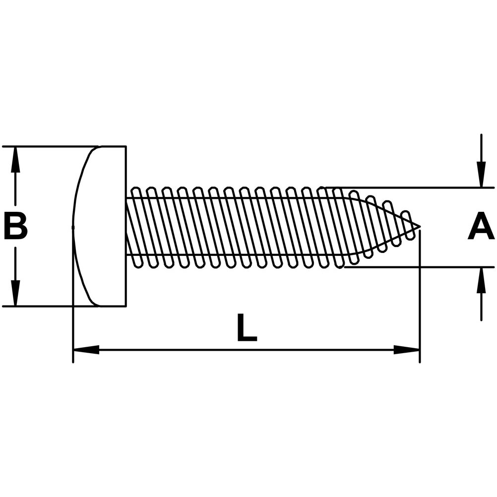 Type 316 Stainless Steel Pan Head Wood Screw Diagram