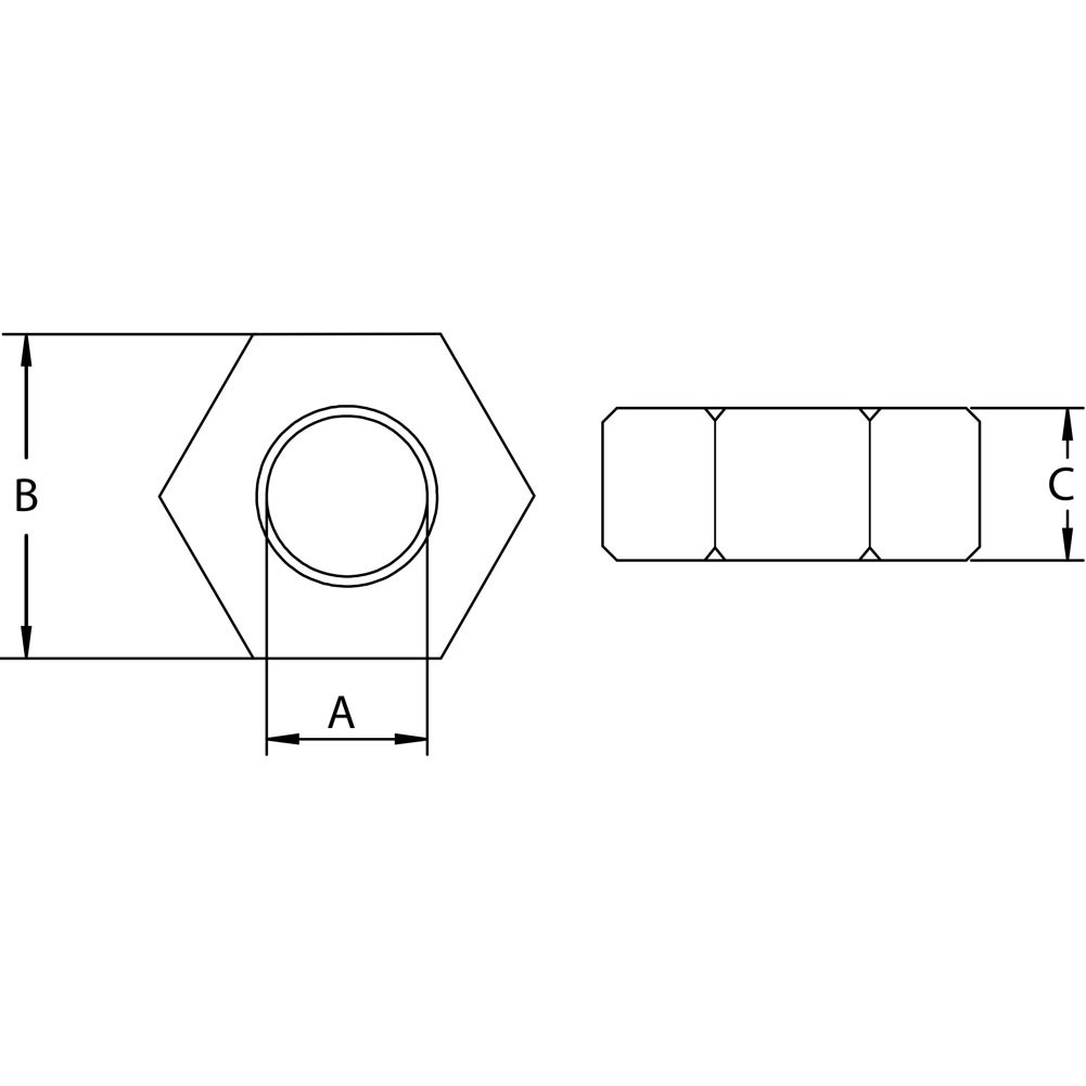 three-sixteenths-inch-stainless-hex-nut-left-specification-diagram