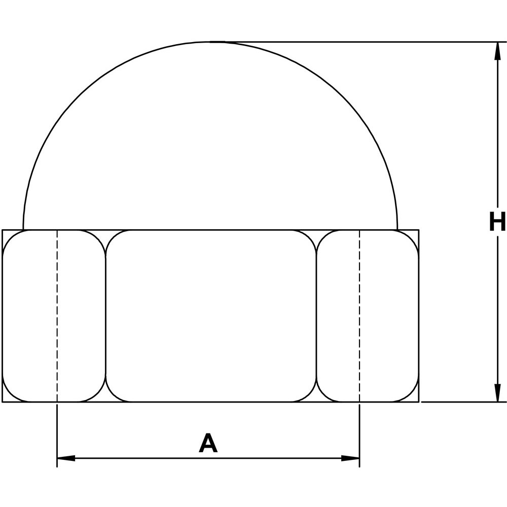 quarter-inch-stainless-dome-nut-specification-diagram