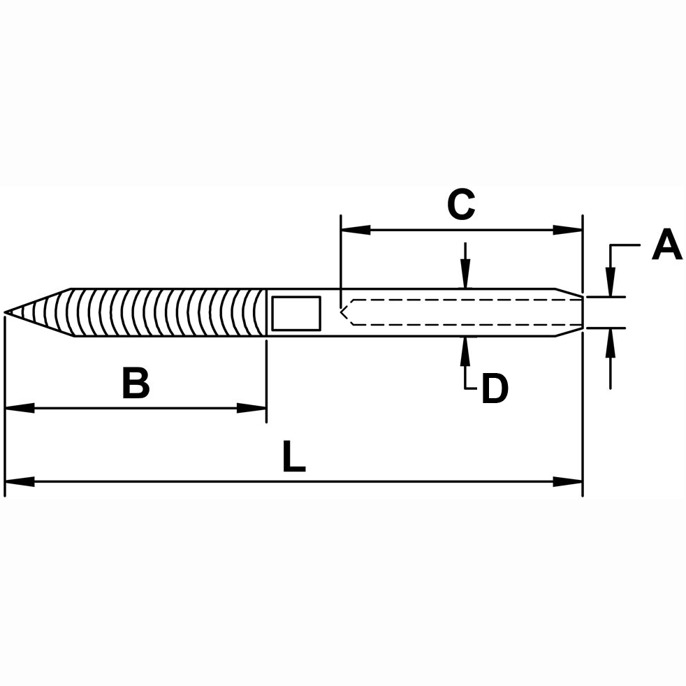 Type 316 Stainless Steel Cable Railing Lag Stud Diagram