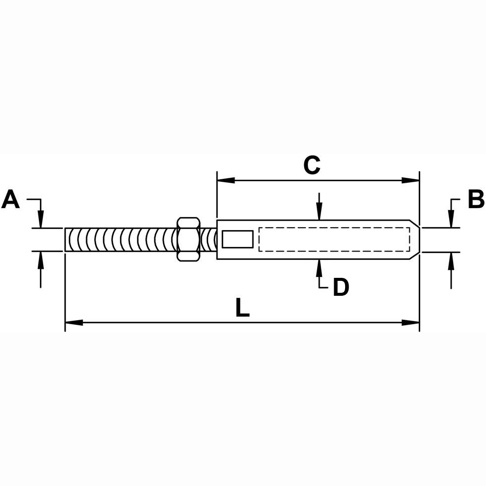 Type 316 Stainless Steel Cable Railing XL Stud Diagram