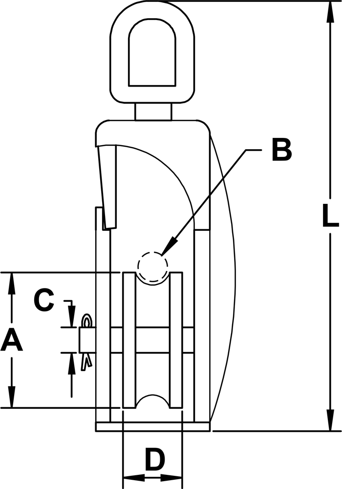 Type 304 Stainless Steel Snatch Block With Oblong Eye (Flap Latch) Diagram
