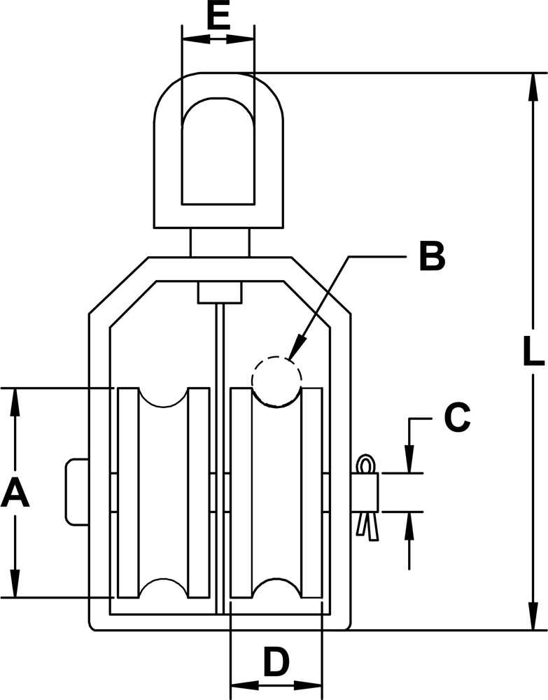 Type 304 Stainless Steel Swivel Eye, Double Sheave Block Diagram
