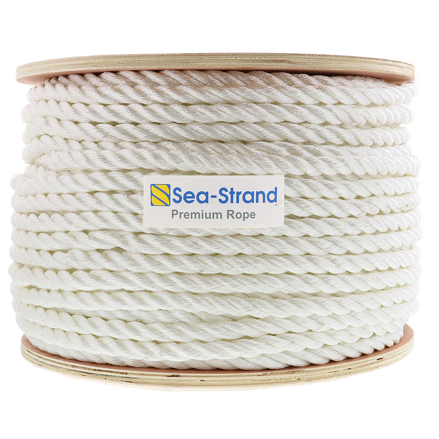 1//4 Inch x 600 Ft Three Strand Twisted Nylon Rope Spool for Boats