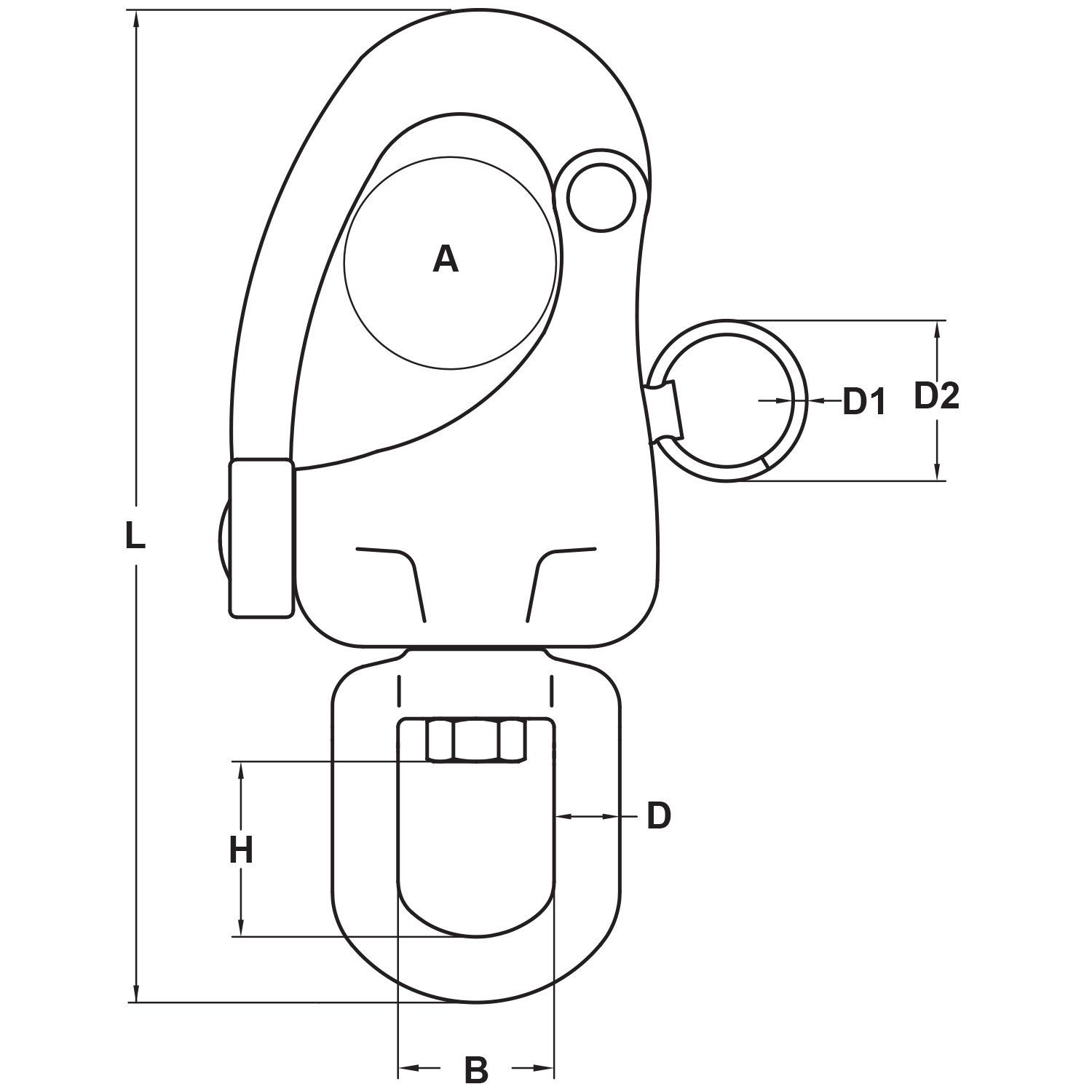 Type 316 Stainless Steel Eye Swivel Snap Shackle Diagram