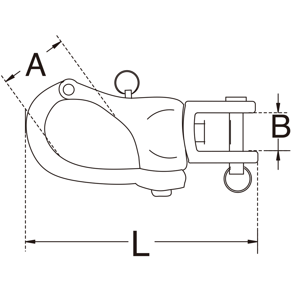 Type 316 Stainless Steel Jaw Swivel Snap Shackles Diagram