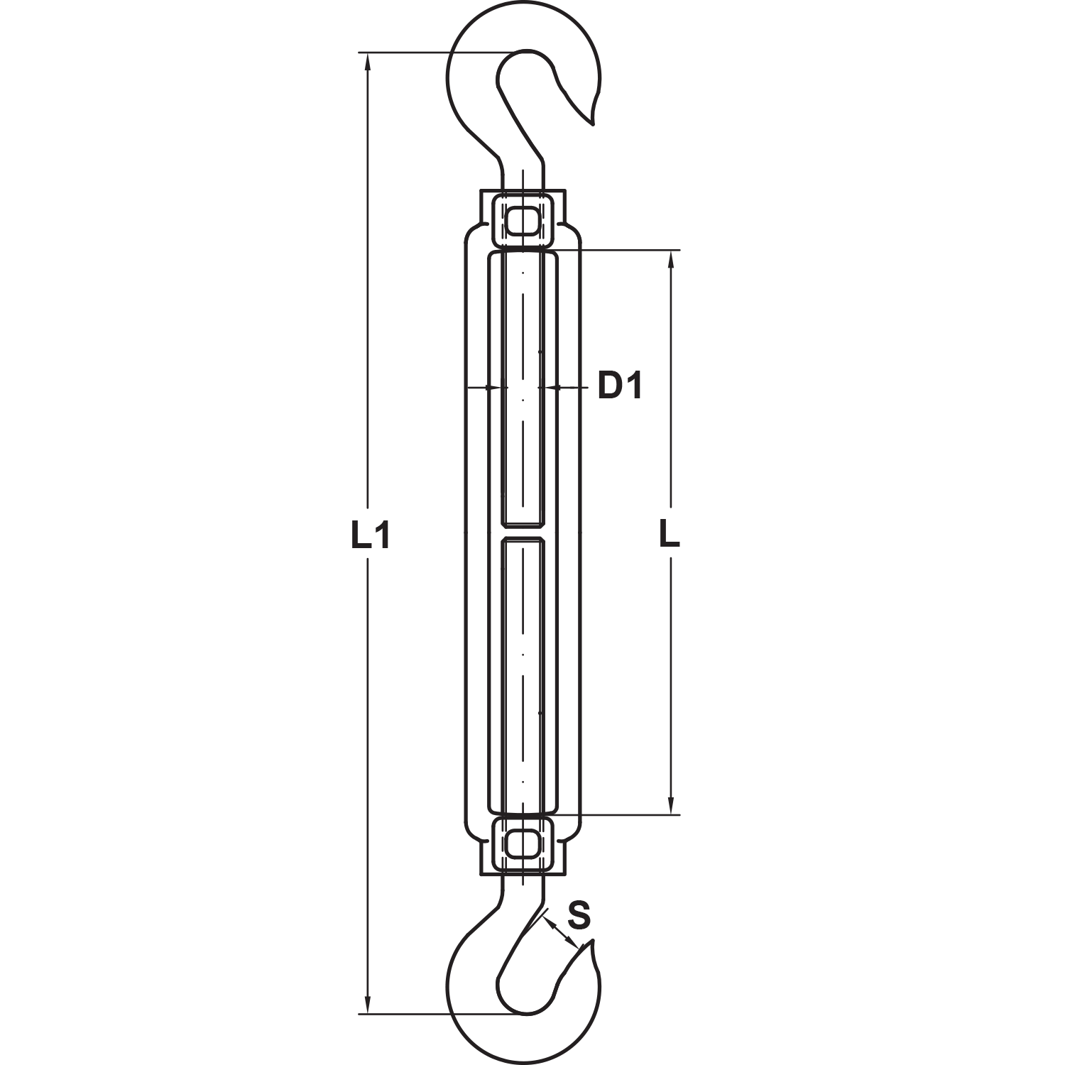 Type 316 Stainless Steel Hook x Hook Turnbuckle Diagram