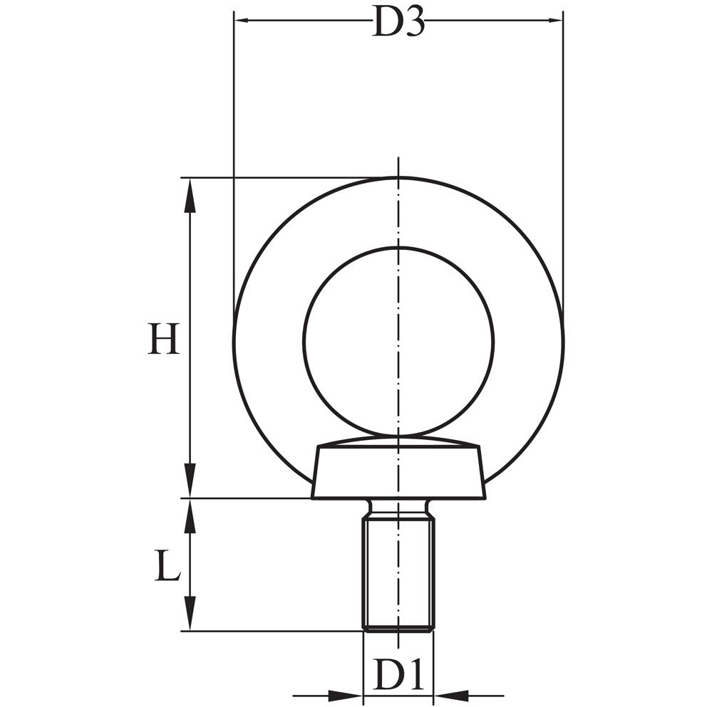 Type 316 Stainless Steel Metric Machinery Eye Bolt Diagram