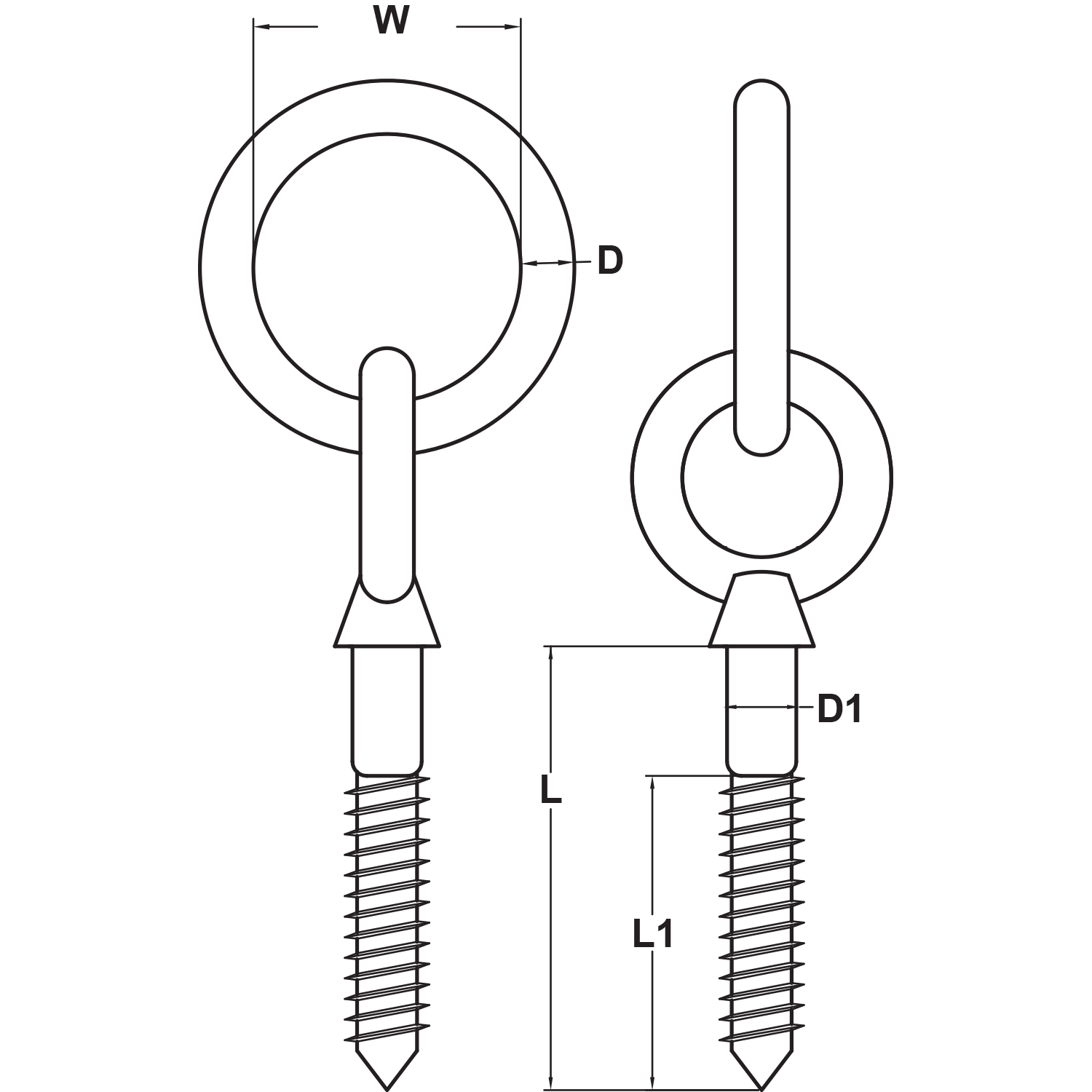 Type 316 Stainless Steel Lag Eye Bolt with Ring Diagram