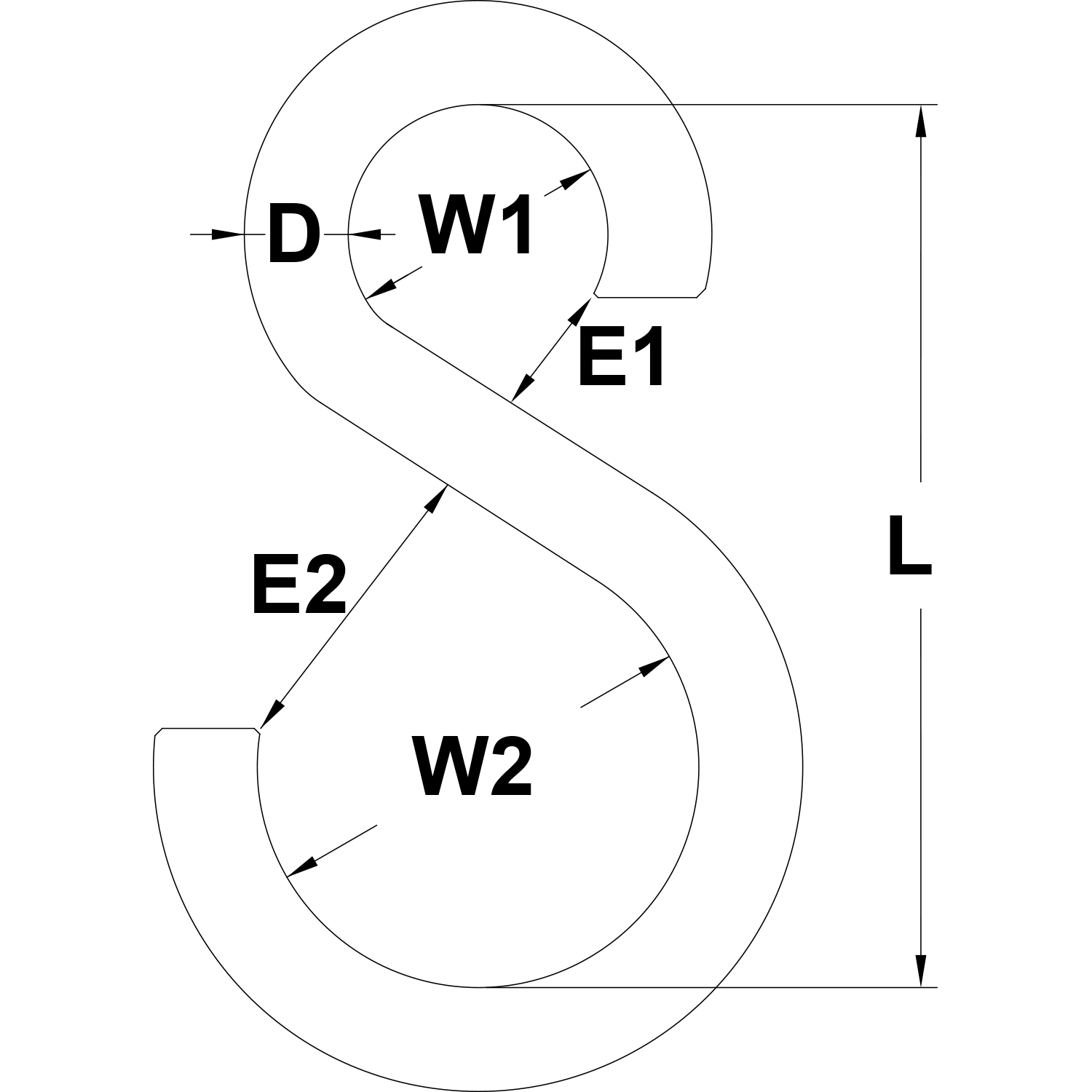Type 316 Stainless Steel Asymmetric S Hook Diagram