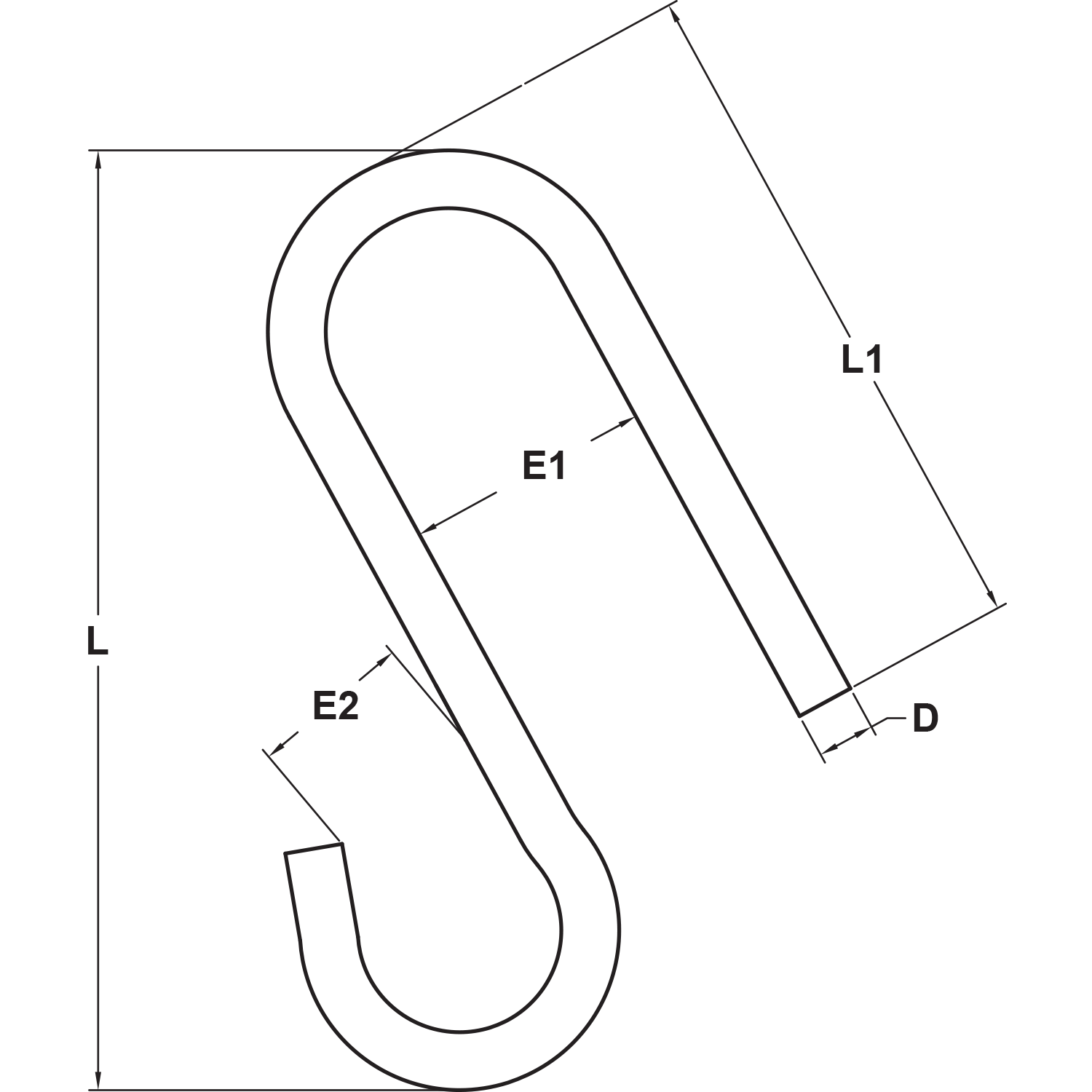 Type 316 Stainless Steel Long Arm S Hook Diagram