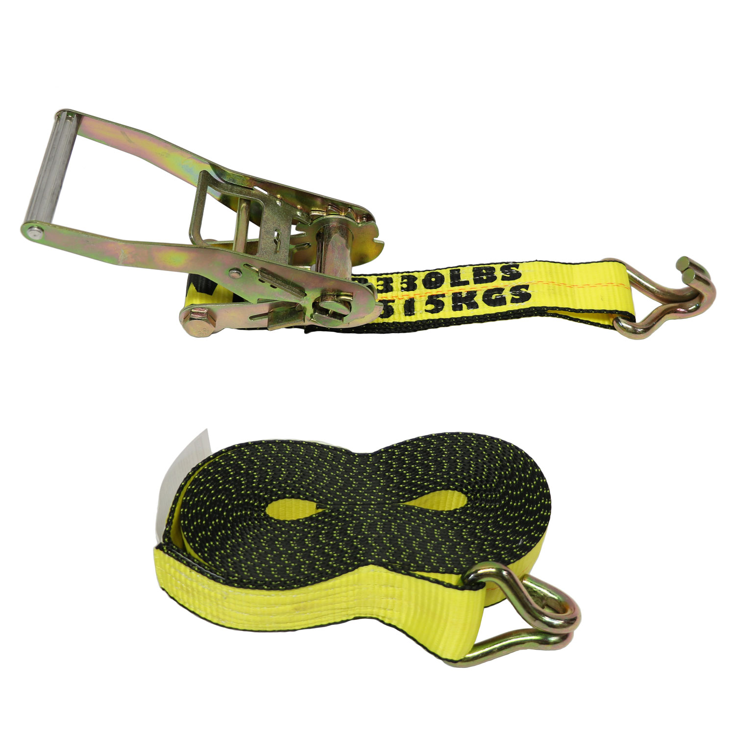"2"" X 27' Tie Down Assembly w/ Long, Wide Handle Ratchet and Heavy Duty Wire Hooks Each End Image 1"