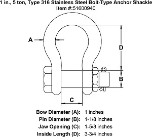 1 in., 5 ton, Type 316 Stainless Steel Bolt-Type Anchor Shackle Image 4