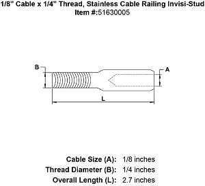 "1/8"" Cable x 1/4"" Thread, Stainless Cable Railing Invisi-Stud Image 4"